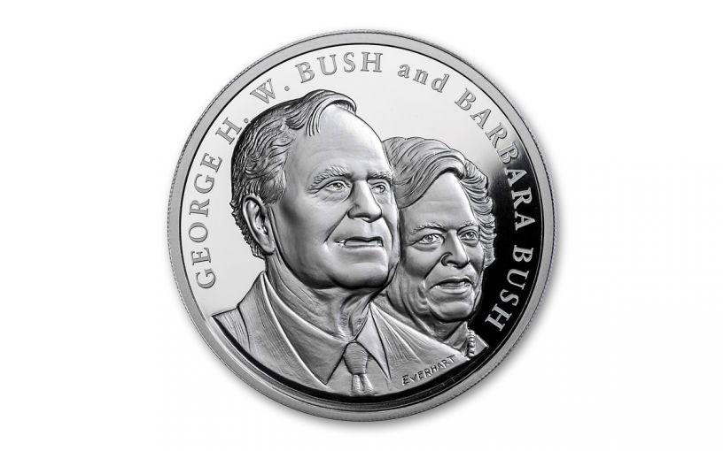 2018 George & Barbara Bush 5-oz Silver Commemorative Medal Proof