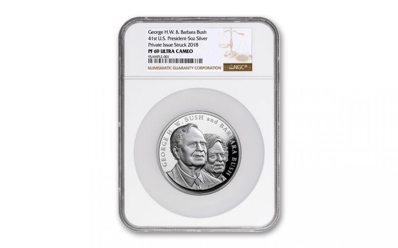 George & Barbara Bush 5-oz Silver Commemorative Medal NGC PF69UC