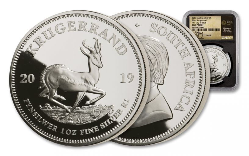 2019 South Africa 1-oz Silver Krugerrand NGC Gem Proof First Day of Issue - Black Core, Tumi Signed Label