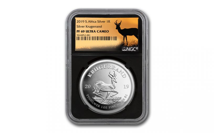 2019 South Africa 1-oz Silver Krugerrand NGC PF69UC - Black Core, Springbok Label