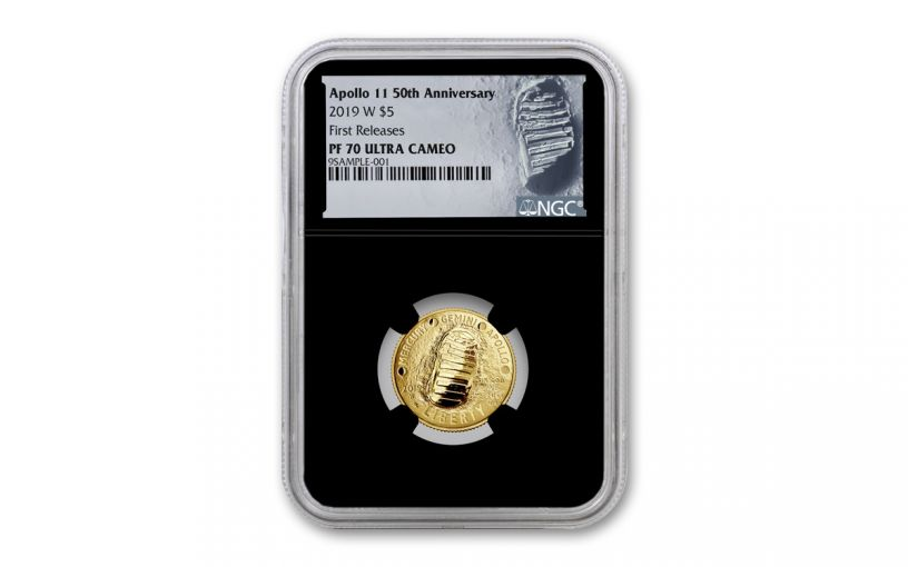 2019-W Apollo 11 50th Anniversary $5 Gold NGC PF70UC First Releases - Black Core, Astronaut Footprint Label
