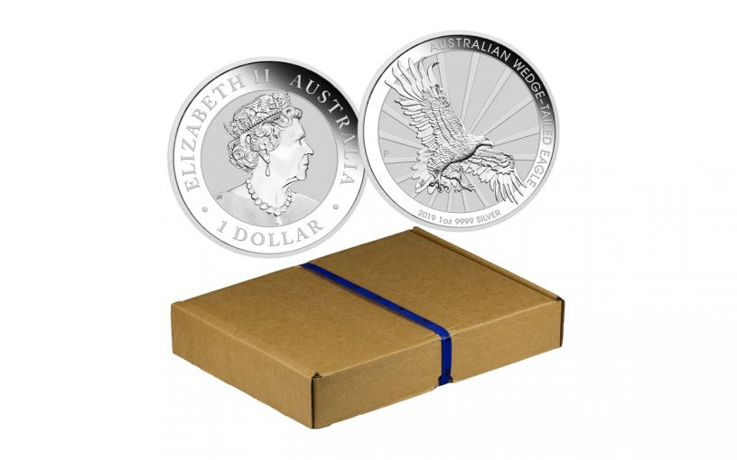 2019 Australia $1 1-oz Silver Wedge Tailed Eagle Uncirculated 100-Piece Tray