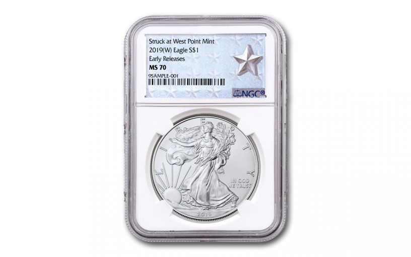 2019-W $1 1-oz Silver American Eagle NGC MS70 Early Releases - Silver Star Label