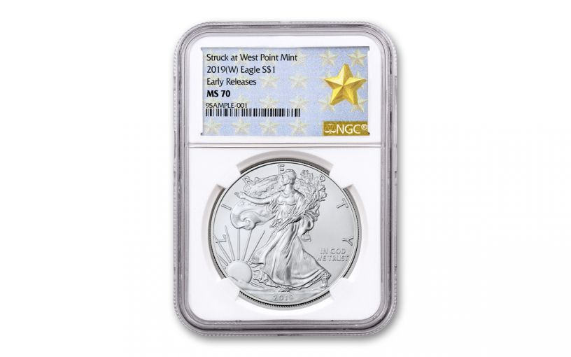 2019-W $1 1-oz Silver American Eagle NGC MS70 Early Releases - Gold Star Label