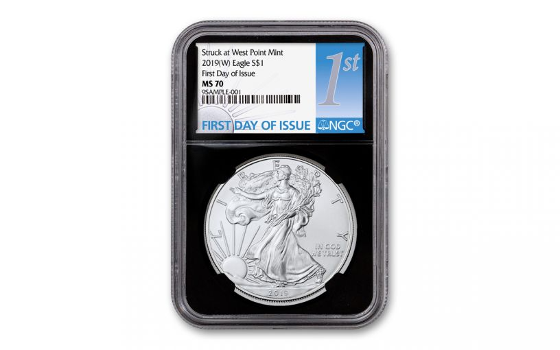 2019-W $1 1-oz Silver American Eagle Struck at West Point NGC MS70 First Day of Issue - Black Core