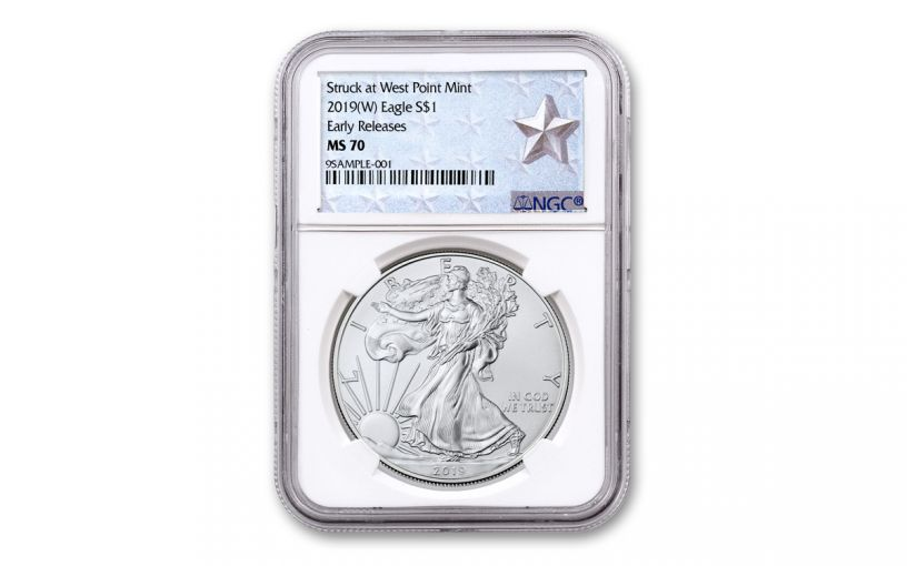 2019-W $1 1-oz Silver American Eagle Struck at West Point NGC MS70 First Releases - West Point Silver Star Label