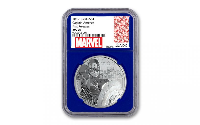 2019 Tuvalu $1 1-oz Silver Captain America NGC MS70 First Releases - Blue Core, Marvel Label