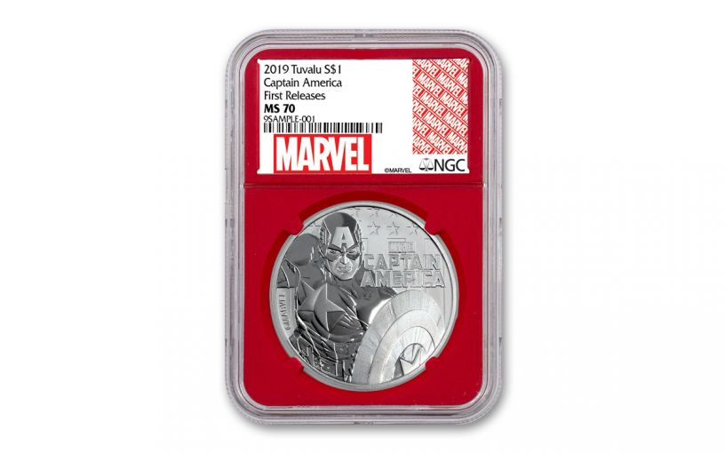 2019 Tuvalu $1 1-oz Silver Captain America NGC MS70 First Releases - Red Core, Marvel Label