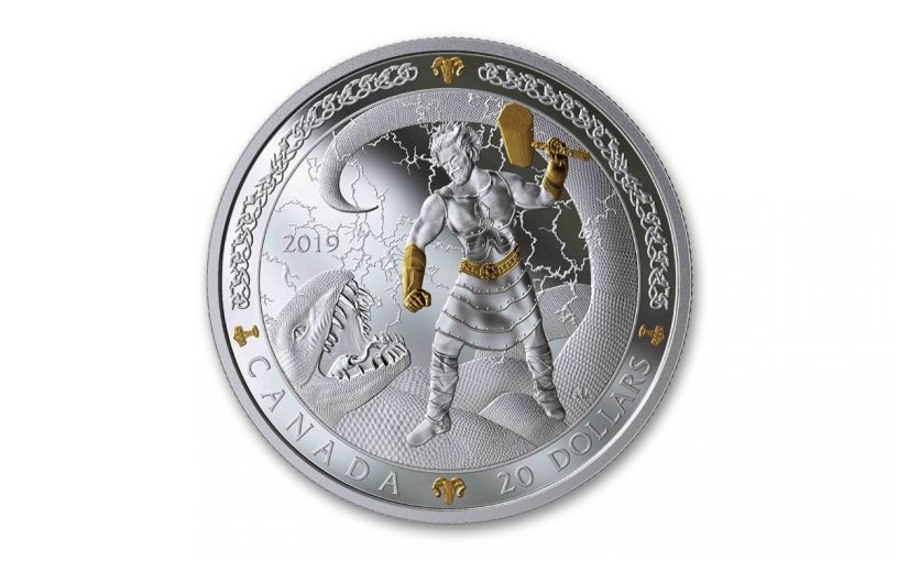 2019 Canada $20 1-oz Silver Thor the Norse Gods Series Gilt Proof