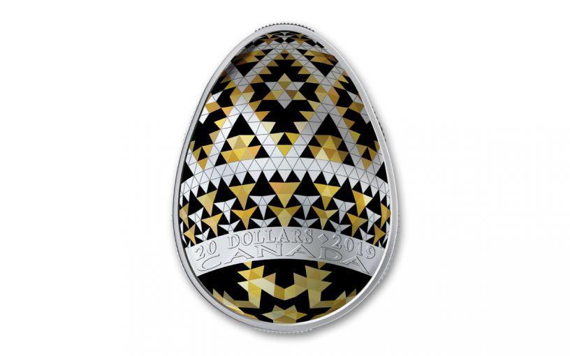 2019 Canada $20 1-oz Silver Pysanka Egg Vegreville Shaped Proof