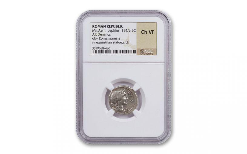 3rd-1st Centuries BC Ancient Roman Republic Random Silver Denarius NGC Ch VF