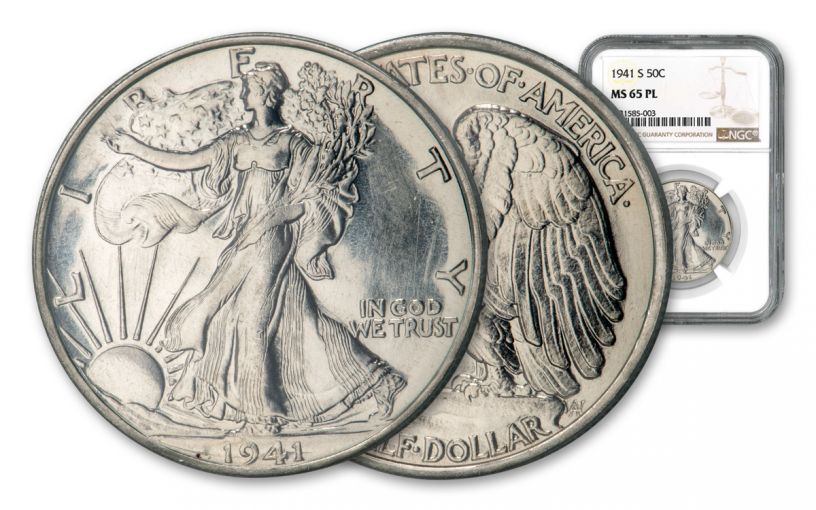 1941-S 50 Cents Silver Walking Liberty NGC MS65 PL