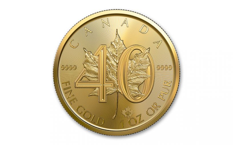 2019 Canada $50 1-oz Gold 40th Anniversary Maple Leaf BU