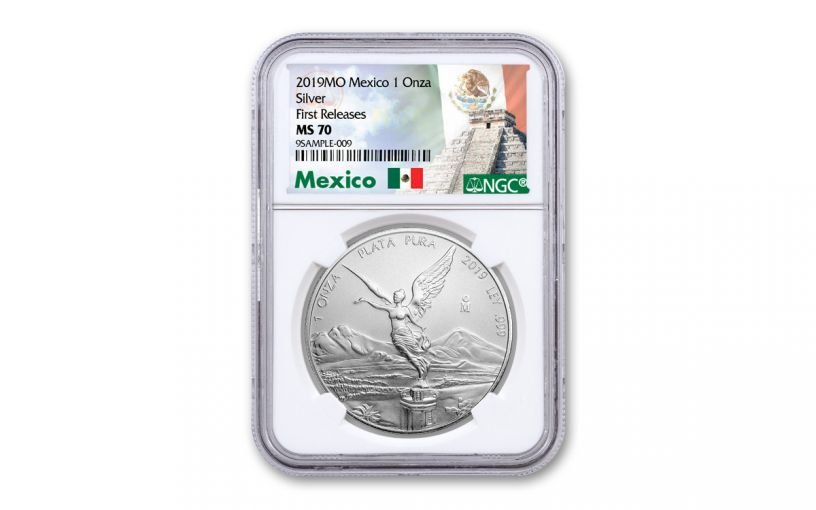 2019 Mexico 1-oz Silver Libertad NGC MS70 First Releases - Mexico Label