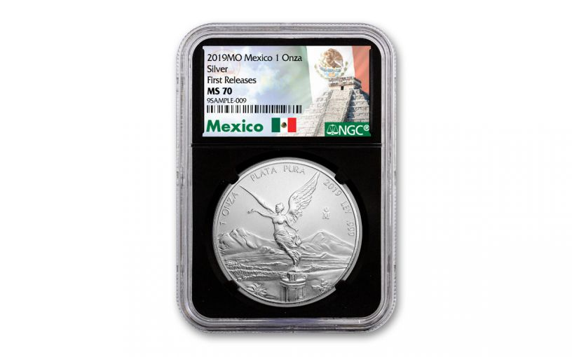 2019 Mexico 1-oz Silver Libertad NGC MS70 First Releases - Black Core, Mexico Label