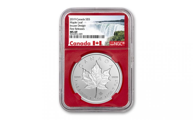 2019 Canada $5 1-oz Silver Incuse Maple Leaf NGC MS69 First Releases - Red Core, Canada Label