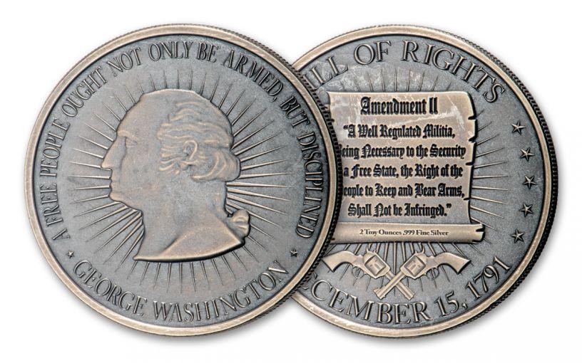 2-oz Silver Washington Bill of Rights 2nd Amendment Antiqued BU