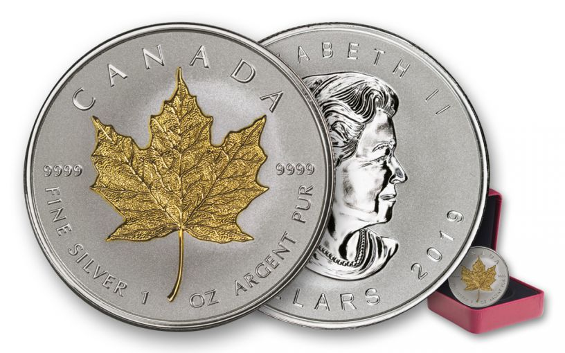2019 Canada $20 1-oz Silver Maple Leaf Incuse Gilt Reverse Proof