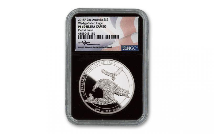 2018 Australia $2 2-oz Silver Wedge Tailed Eagle Piedfort NGC PF69UC w/Black Core & Mercanti Signature