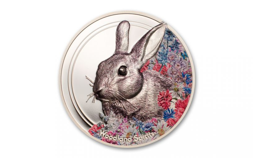 2019 Mongolia 1-oz Silver Woodland Spirits Rabbit High Relief Colorized Proof-Like