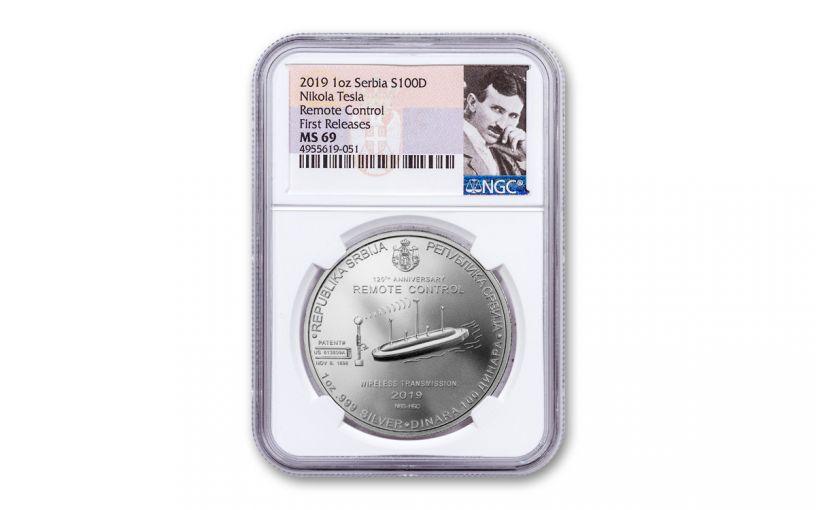 2019 Serbia 1-oz Silver Nikola Tesla Remote Control NGC MS69 First Releases - Tesla Label