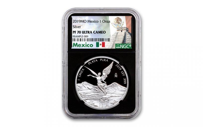 2019-MO Mexico 1-oz Silver Libertad NGC PF70UC - Black Core, Mexico Label