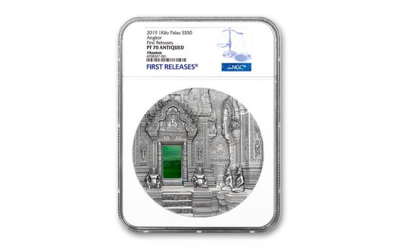 2019 Palau $50 Kilo Silver Angkor Wat Tiffany Art Ultra High Relief Antiqued NGC PF70 First Releases