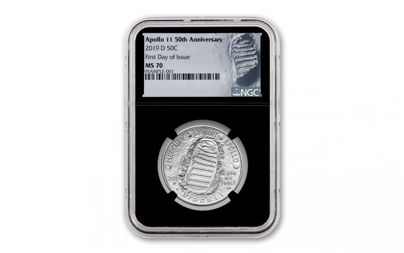 2019-D Apollo 11 50th Anniversary Clad Half Dollar NGC MS70 First Day of Issue - Black Core, Astronaut Footprint Label