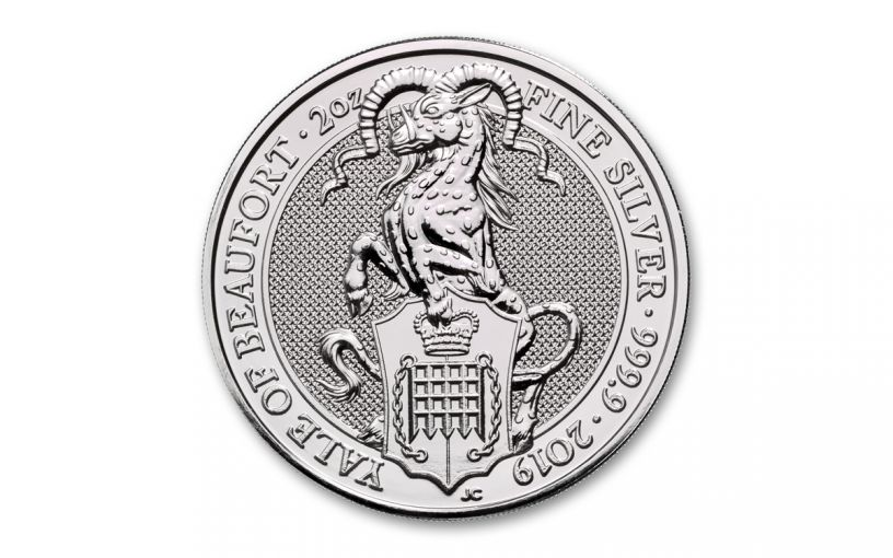 2019 Great Britain £5 2-oz Silver Queen's Beasts Yale of Beaufort BU