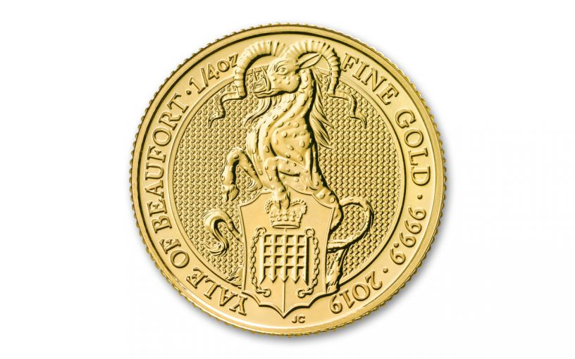 2019 Great Britain £25 1/4-oz Gold Queen's Beasts Yale of Beaufort BU
