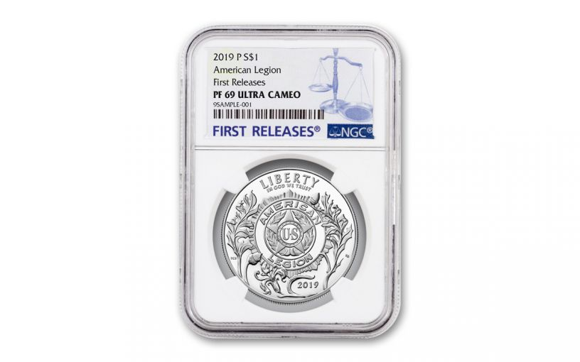 2019-P Silver Dollar American Legion 100th Anniversary Commemorative NGC PF69UC First Releases