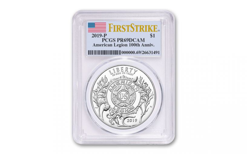 2019-P Silver Dollar American Legion 100th Anniversary Commemorative PCGS PR69DCAM First Strike - Flag Label