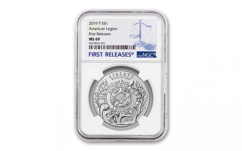 2019-P Silver Dollar American Legion 100th Anniversary Commemorative NGC MS69 First Releases