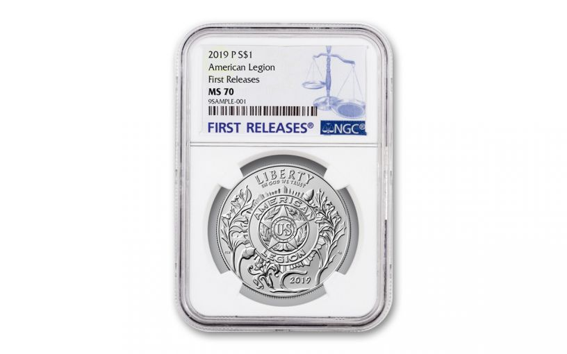 2019-P Silver Dollar American Legion 100th Anniversary Commemorative NGC MS70 First Releases