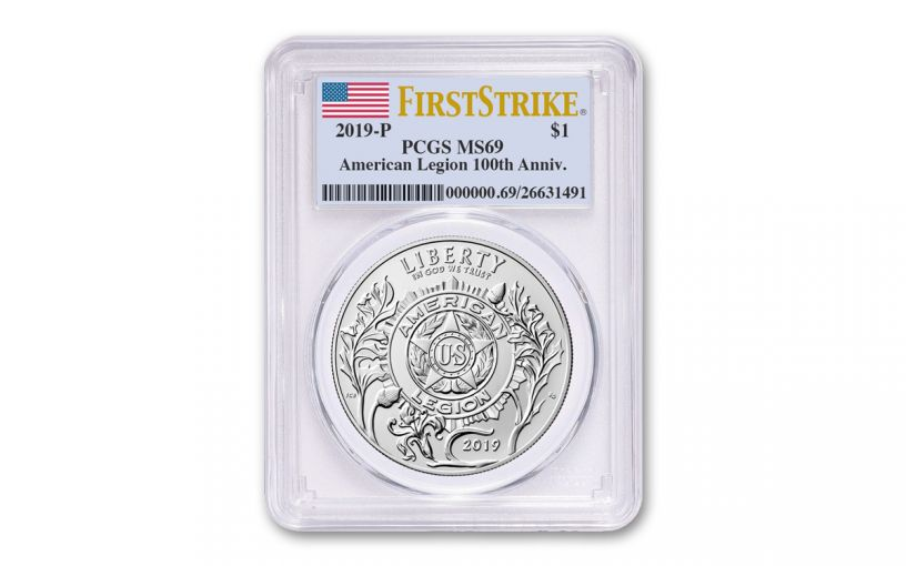 2019-P Silver Dollar American Legion 100th Anniversary Commemorative PCGS MS69 First Strike - Flag Label