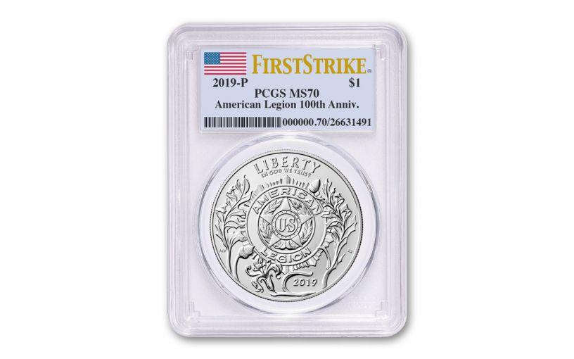 2019-P Silver Dollar American Legion 100th Anniversary Commemorative PCGS MS70 First Strike - Flag Label