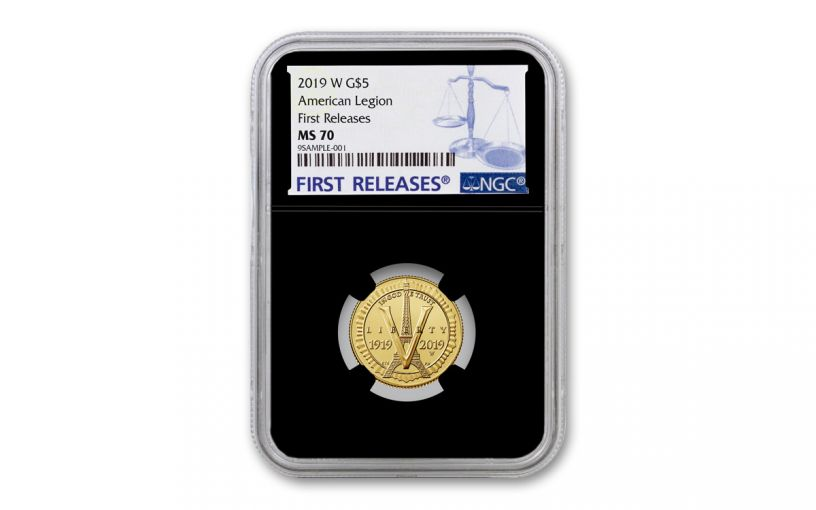 2019-W $5 Gold American Legion 100th Anniversary Commemorative NGC MS70 First Releases - Black Core