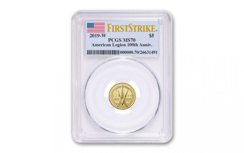 2019-W $5 Gold American Legion 100th Anniversary Commemorative PCGS MS70 First Strike - Flag Label