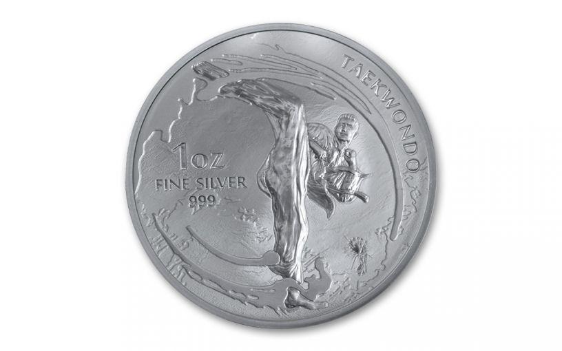 2019 South Korea 1-oz Silver Taekwondo Medal BU