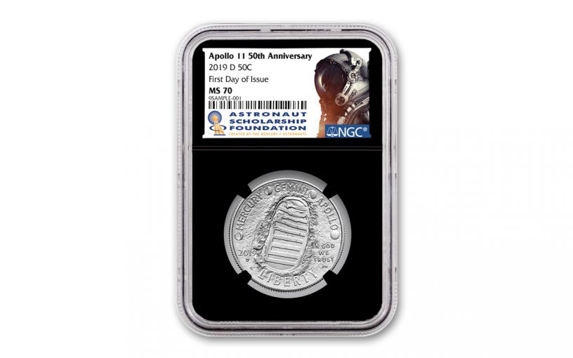 2019-D Apollo 11 50th Anniversary Clad Half Dollar NGC MS70 First Day of Issue - Black Core, Astronaut Scholarship Foundation Label