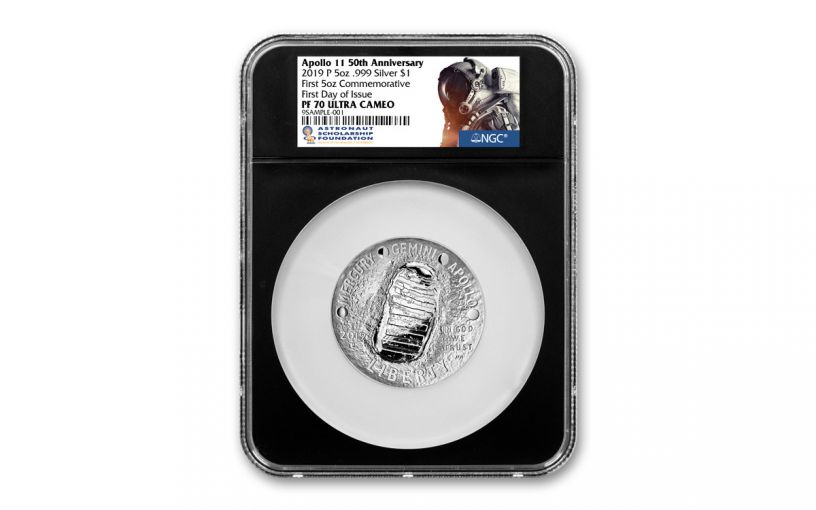 2019-P Apollo 11 50th Anniversary 5-oz Silver Dollar NGC PF70UC First Day of Issue - Black Core, Astronaut Scholarship Foundation Label