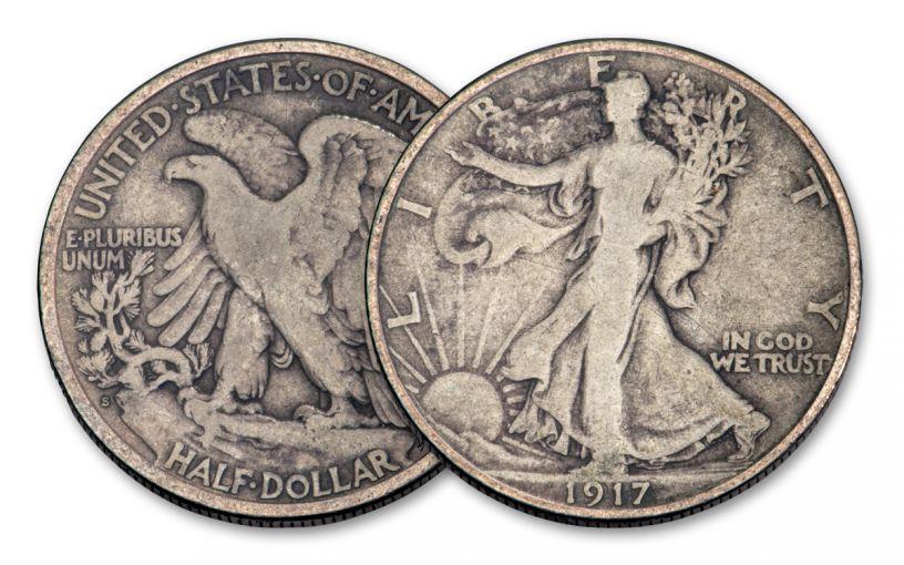 1917-S 50 Cents Silver Walking Liberty VG