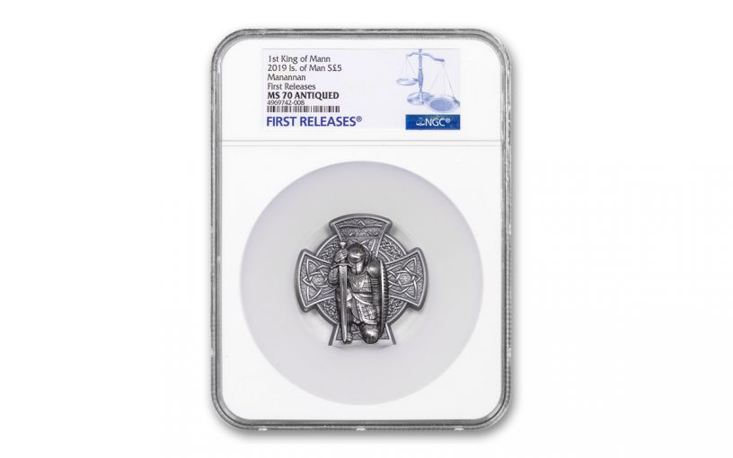 2019 Isle of Man £5 3-oz Silver Manannán High Relief Cross Shaped Antiqued Coin NGC MS70 First Releases