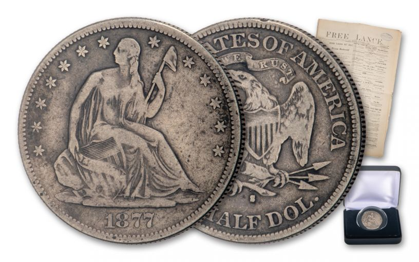 1875–1877-S 50 Cents Silver Seated Liberty VG w/Newspaper