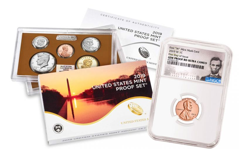 2019-W Lincoln Cent NGC Gem Proof UCAM First Day of Issue + 2019-S United States Proof Set NGC Gem Proof First Day of Issue