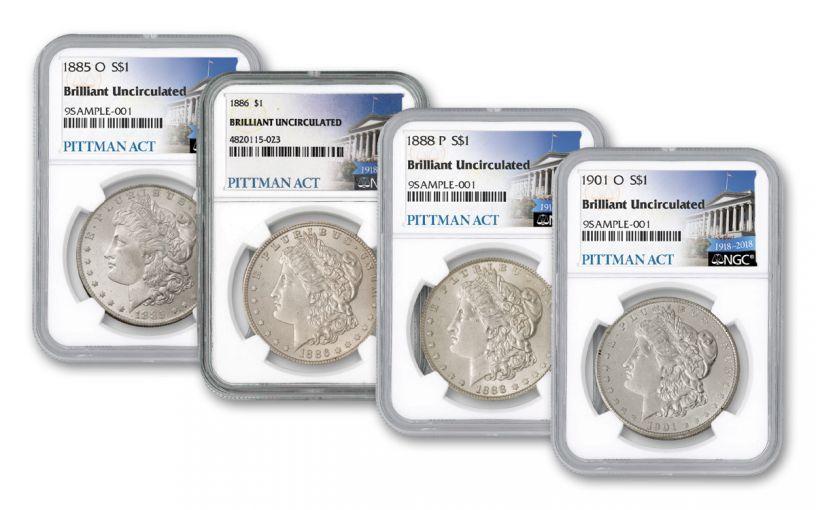 1885–1901-P & O $1 Morgan Silver Dollar Pittman Act 4-Coin Set BU
