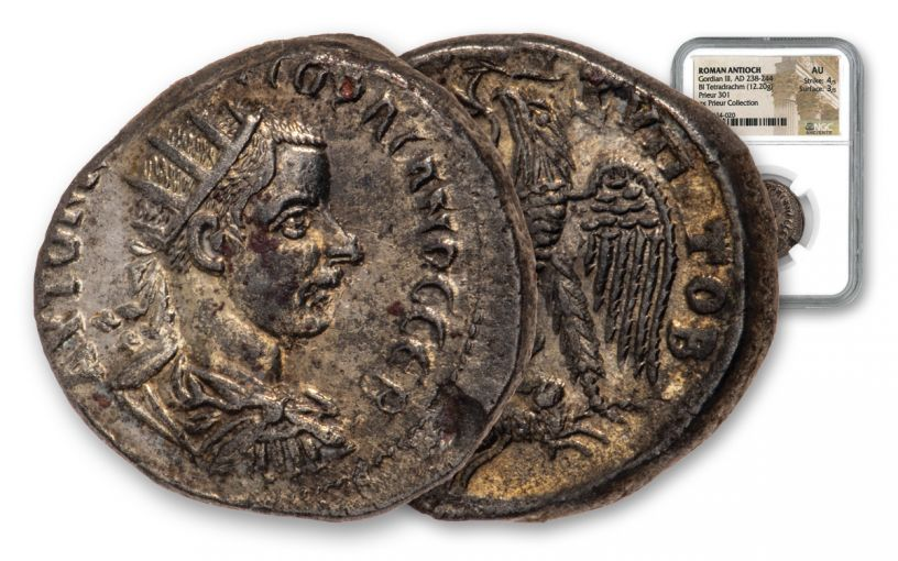 238-244 Ancient Roman Silver Billon Tetradrachm of Gordian III Prieur Collection NGC AU