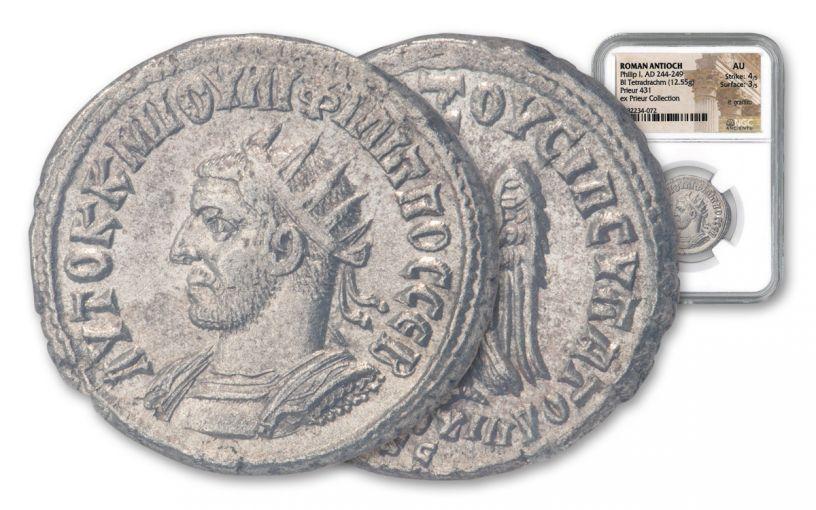 ANC ROMAN PHILIP I BI TETRADRACHM PRIEUR  NGC AU