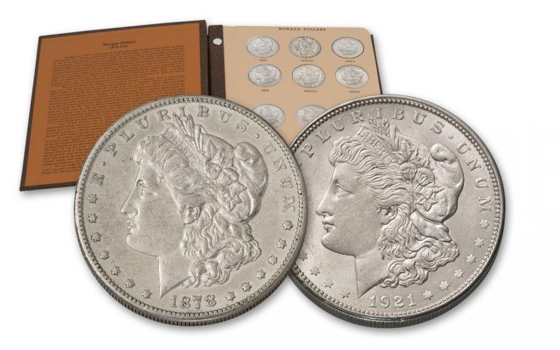 1878–1921 Morgan Silver Dollar 28-Coin Date Set XF–AU Blue Whitman Albums