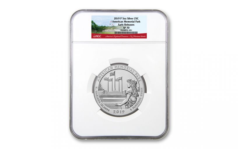 2019 American the Beautiful 5-oz Silver American Memorial Park NGC SP70 Early Releases